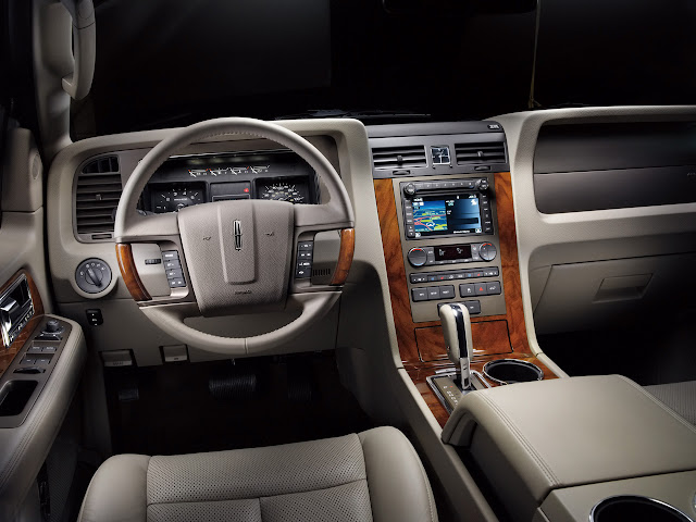 Dove gray leather Lincoln Navigator interior with wood trim
