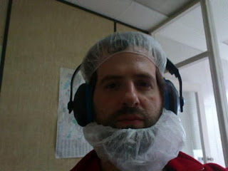 picture of me with a hair and beard net.