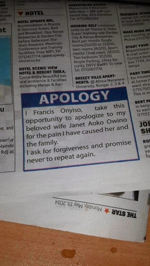 Cheating Kenyan Husband Posts Apology Letter To Wife On