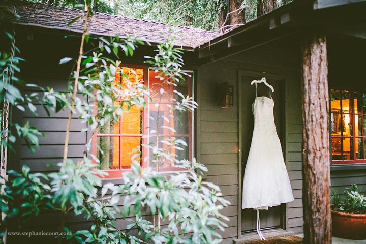 """wedding dress at rustic cabin"""
