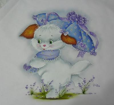 pintura em tecido manta com cachorrinha de guarda chuva lilás