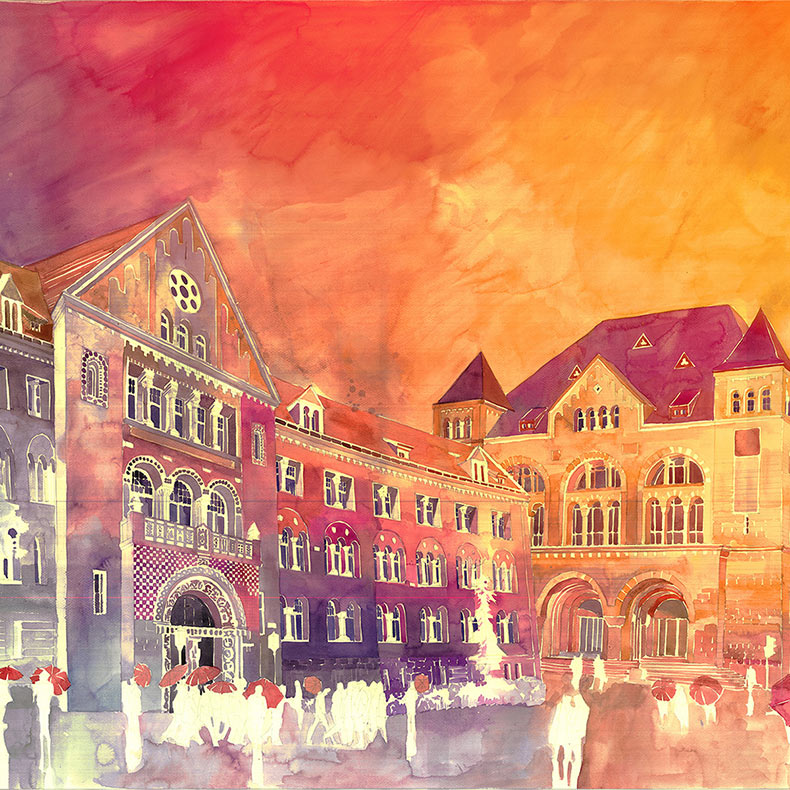 Nuevas coloridas acuarelas arquitectónicas de Maja Wrońska