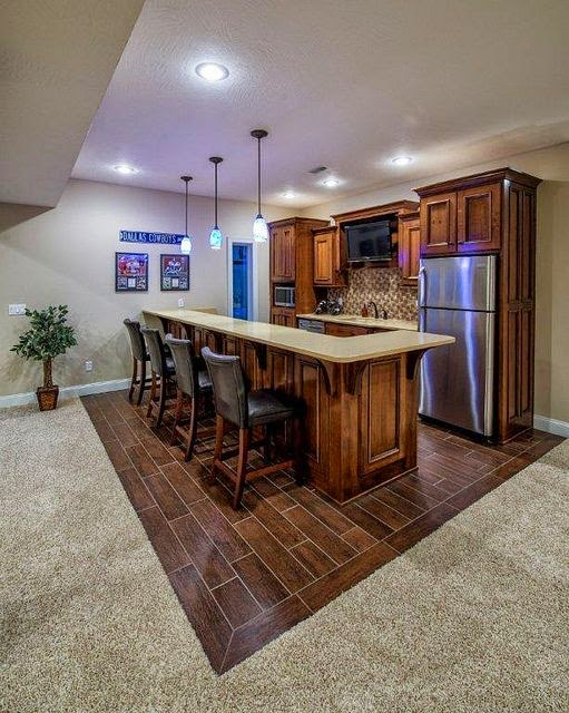 Using carpet hardwood tile for creative floor for Basement kitchenette with bar