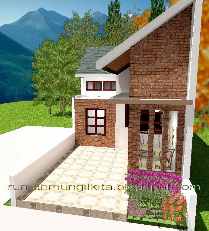 Desain rumah lebar 4 meter dengan 3 kamar tidur - tampak depan