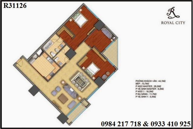 Mua bán căn hộ chung cư trên địa bàn Hà Nộ, căn hộ R31126 chung cư Royal City diện tích 169.5 m2 bán giá 9ty460