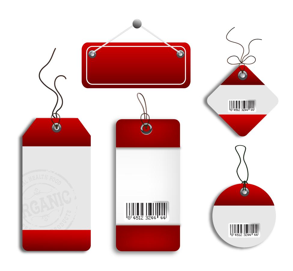 赤い縁取りのセールスタグ Cardboard Sales Tags イラスト素材