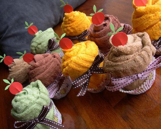 toalha em forma de cupcake