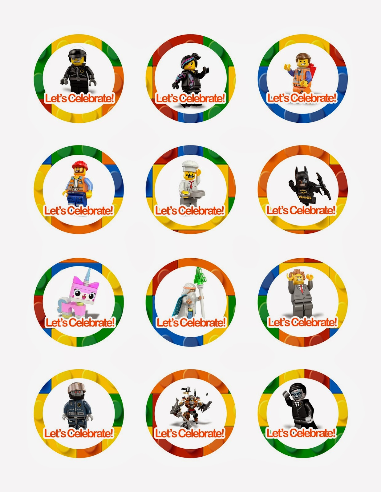 Lego Movie Cupcake Toppers