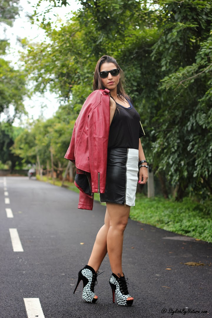fall leather skirt with zip