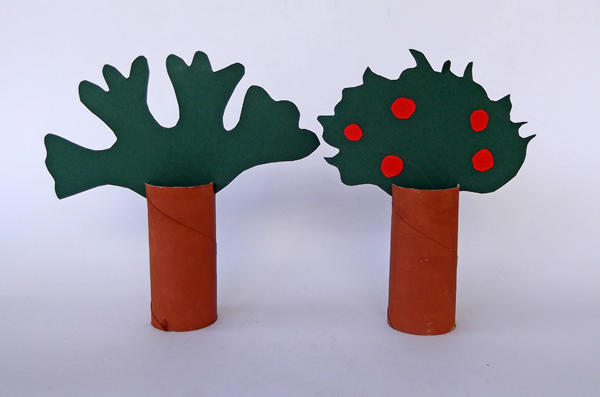 toilet paper roll tree, paper roll trees, craft trees, trees from paper roll, apple tree from toilet paper roll