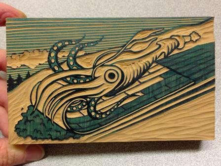 The Making Of A Multi Color Linoleum Block Squid