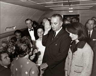 Lyndon Johnson being sworn in on Air Force One, November 22, 1963