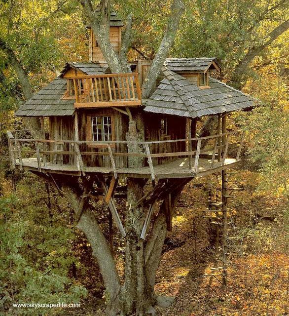 Modelo de cabaña de madera en un árbol