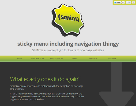 Smint jQuery Plugin for Single Page Websites