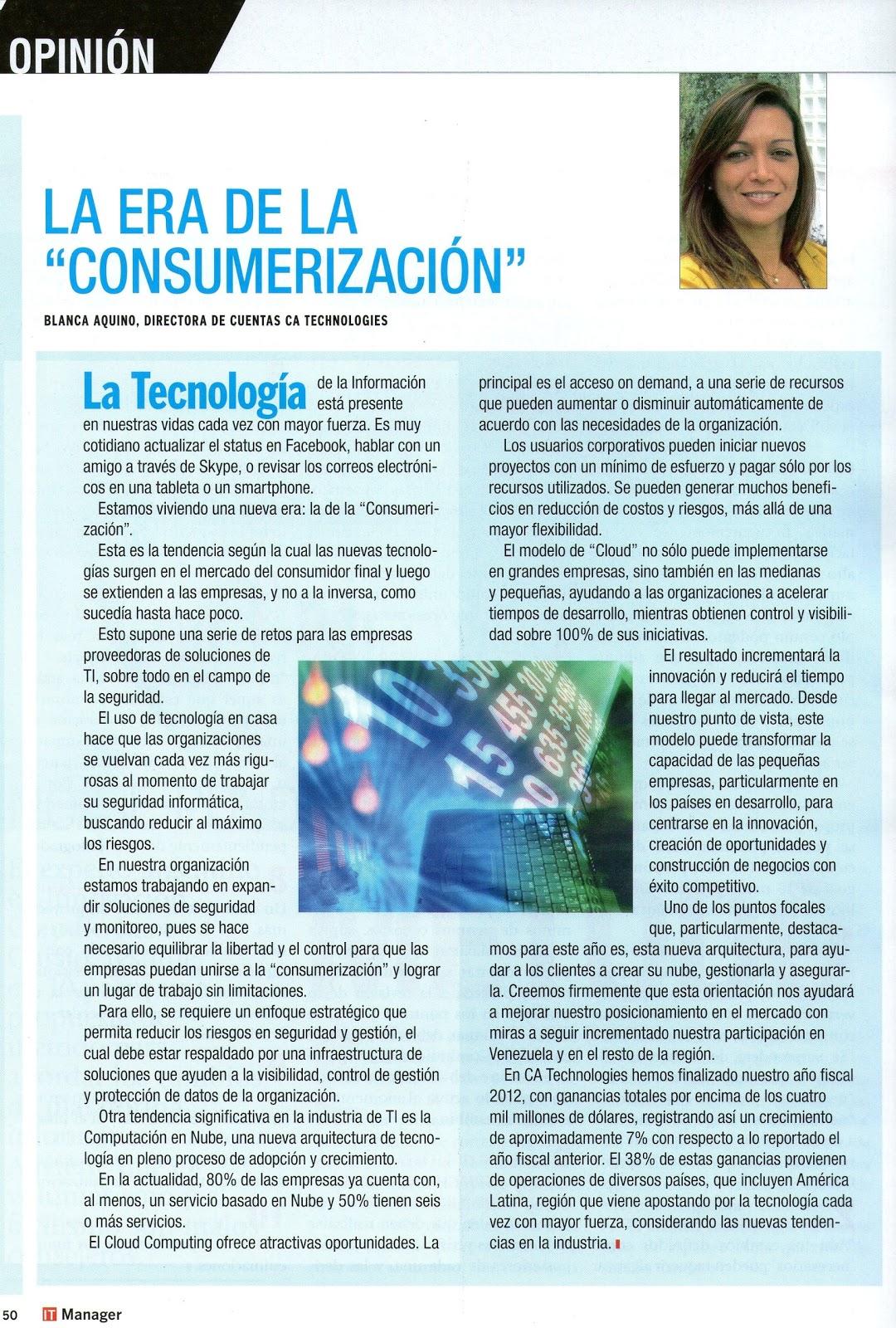 Artículo de opinión en la revista IT Manager - CA Technologies