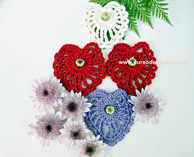 corações em croche video-aulas gratis com edinir-croche