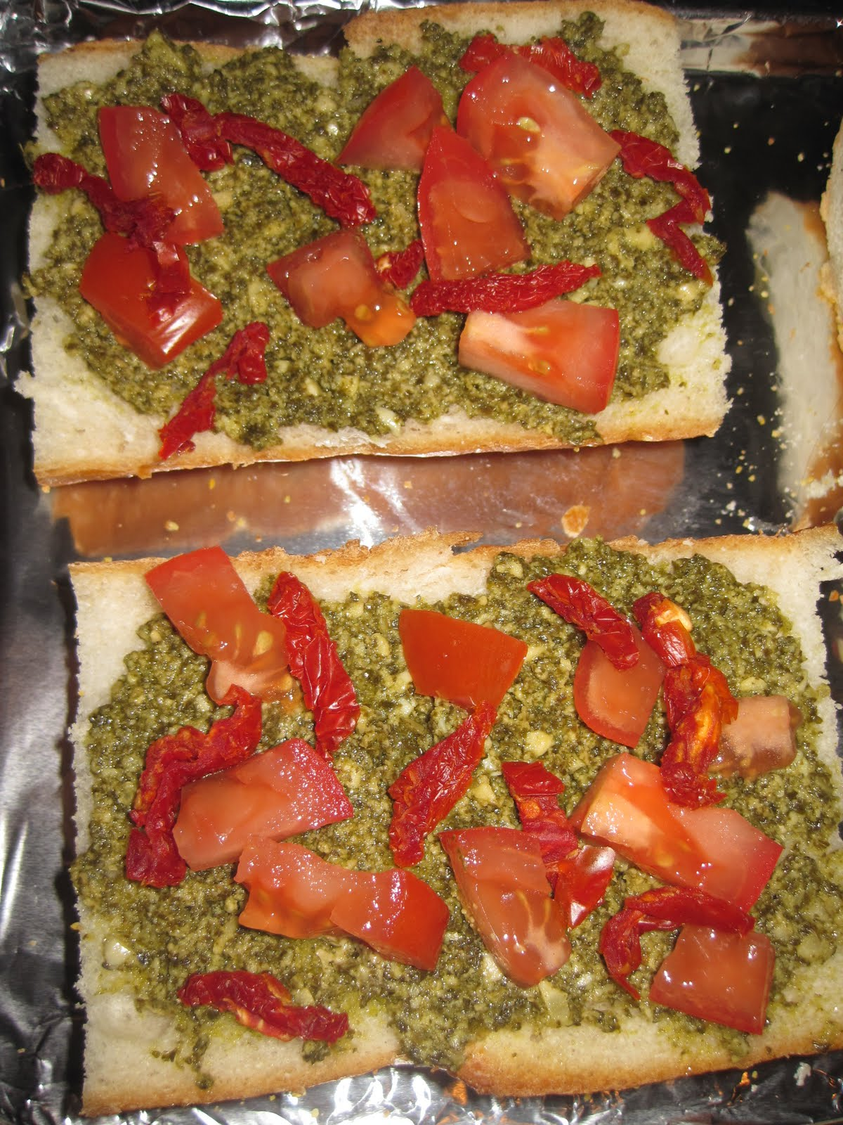 French Bread Pizza With Pesto & Sun-Dried Tomatoes Recipes ...
