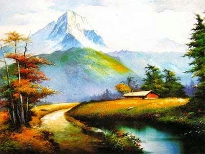 Lukisan Pemandangan Desa Dekat Gunung