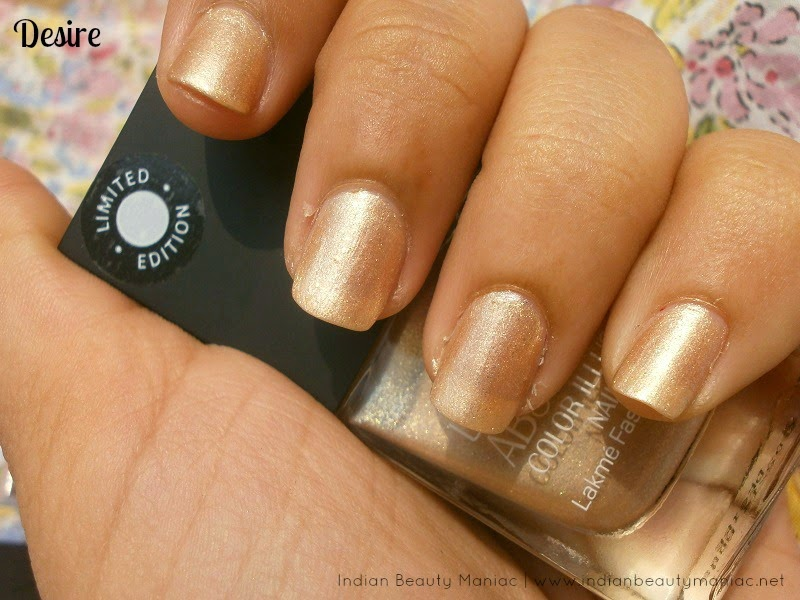 Lakme Absolute Illusion Nails Nail Polish in Desire review and swatch