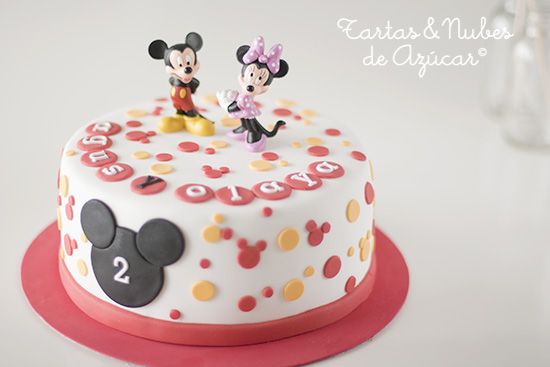 Tarta Mickey y Minnie fondant
