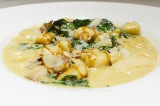 Porcini Gnocchi, Spinach, Mushroom, Porcini Cream Sauce
