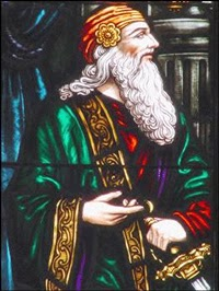 (stain glass image of Polonius)