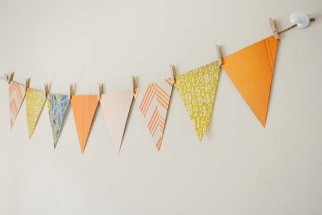 Ford's Baby Boy Nursery Decorative Bunting - Interior Design by Lesley Myrick, Pasadena Interior Designer