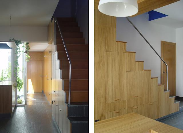 Revestimientos de pared de madera a medida espacios en madera for Soluciones para escaleras