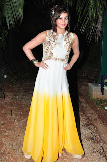 Harshika Pooncha in Spicy Pia Trends Anarkali Gown with Yellow Bottom and Embroidery Work