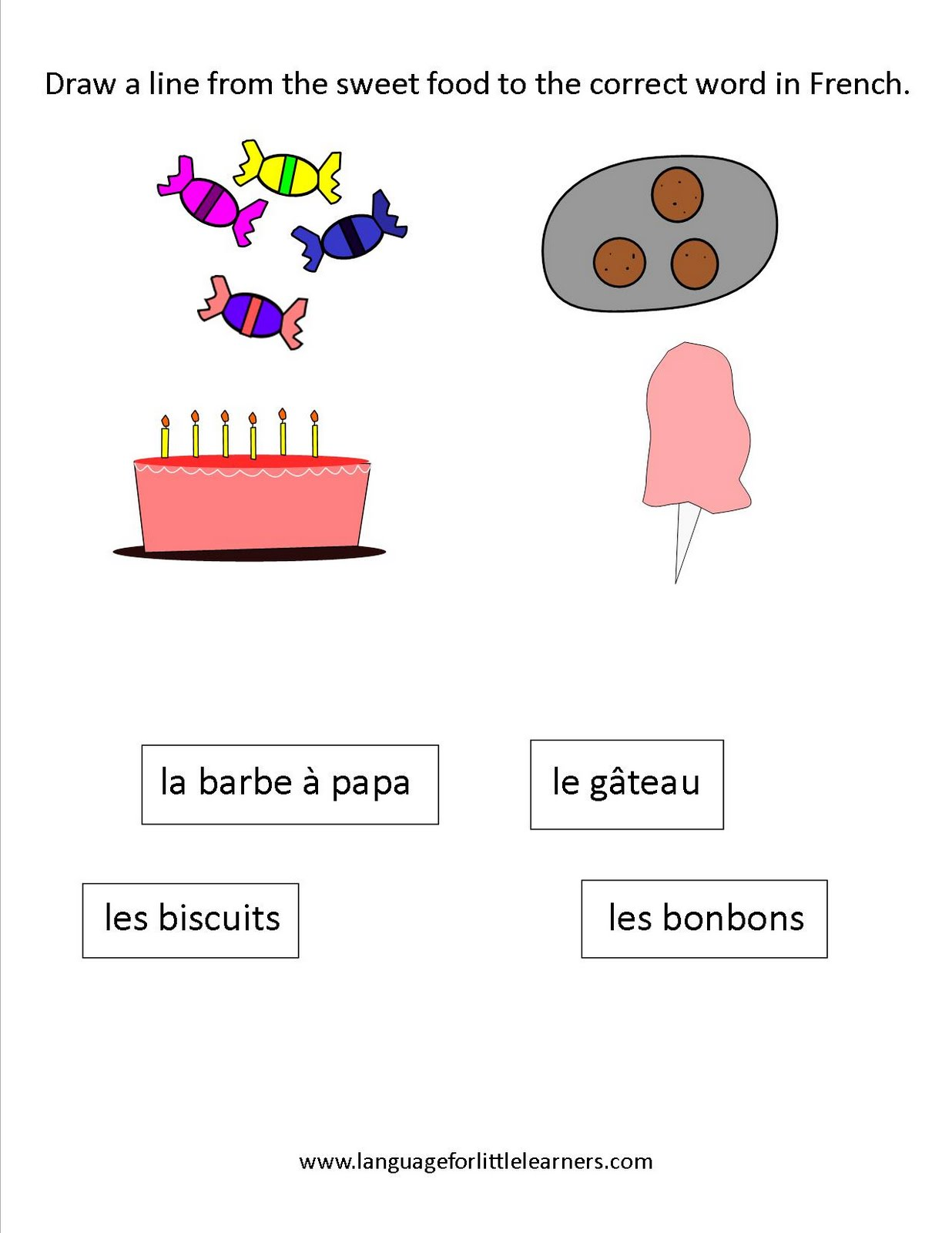 Language For Little Learners Freebie Sweets In French Worksheet