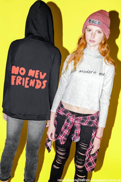 Camisas a cuadros y jeans rotos invierno 2015.