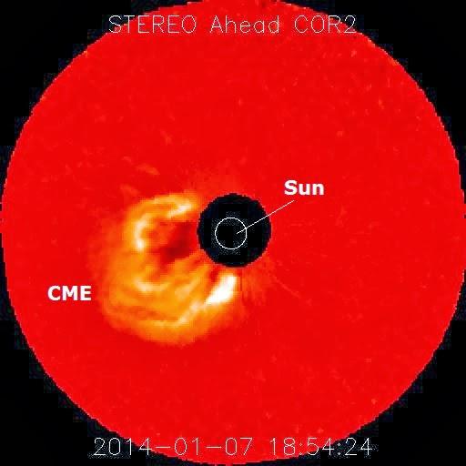 EYECCION DE MASA CORONAL -LLAMARADA SOLAR X1.2, 07 DE ENERO 2014