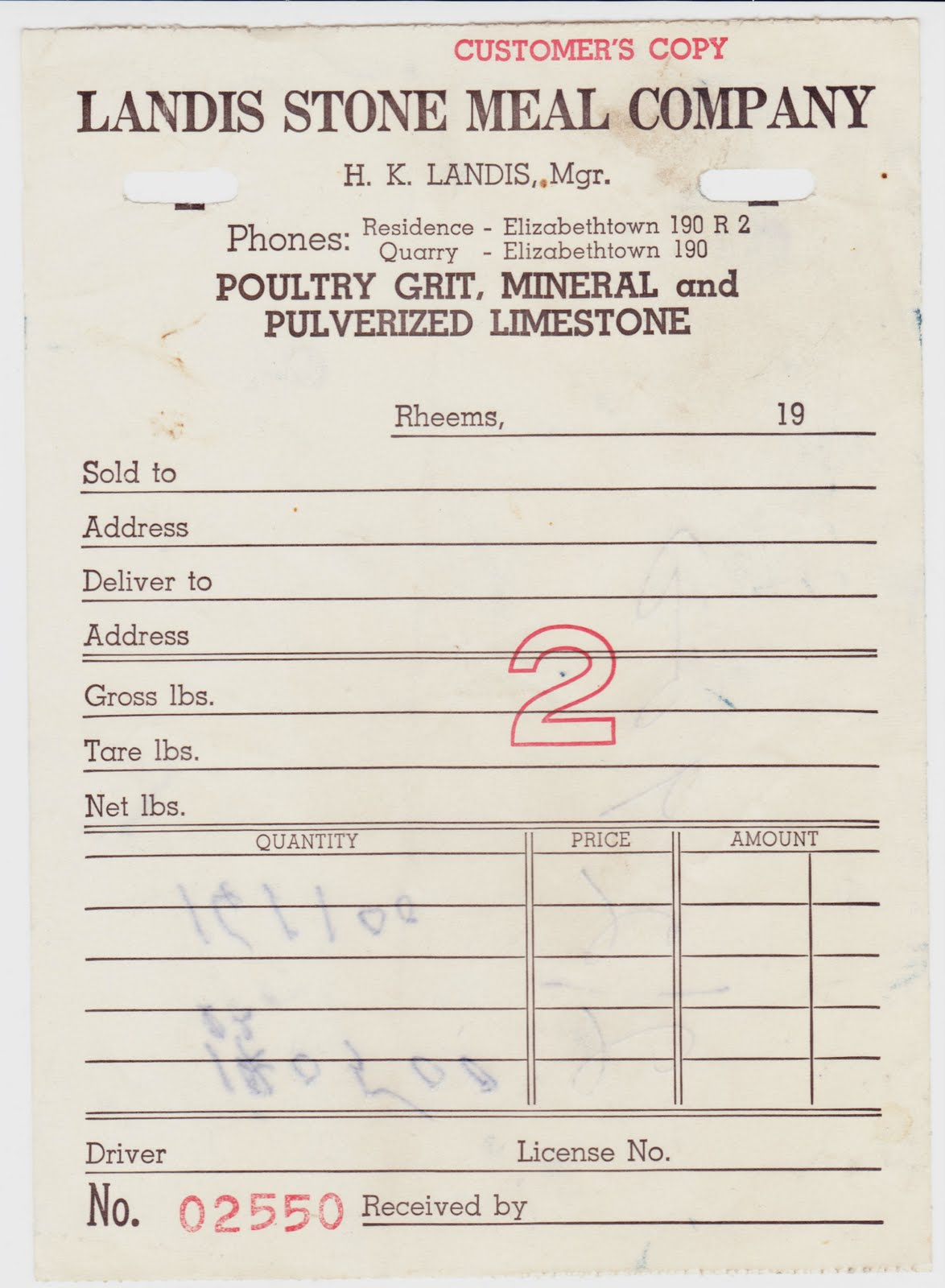 Papergreat Old receipt for Landis Stone Meal Company in Lancaster – Company Receipt
