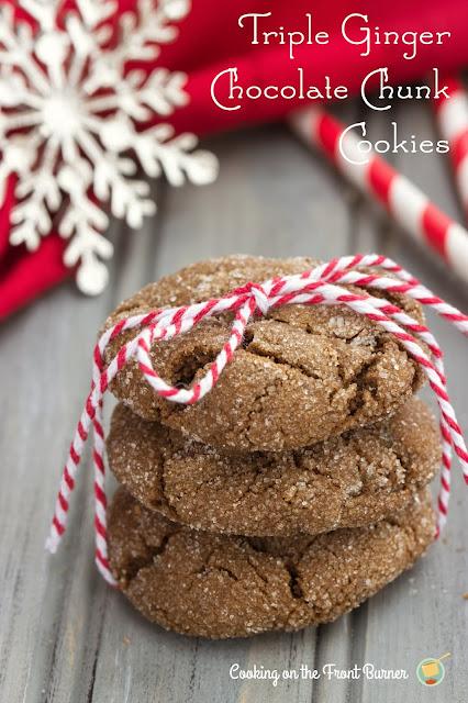 Triple Ginger Chocolate Chunk Cookies | Cooking on the Front Burner #fbcookieswap #Gingercookies