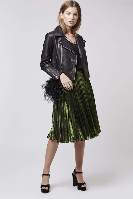 green metallic skirt, green pleated midi skirt, topshop pleated skirt,