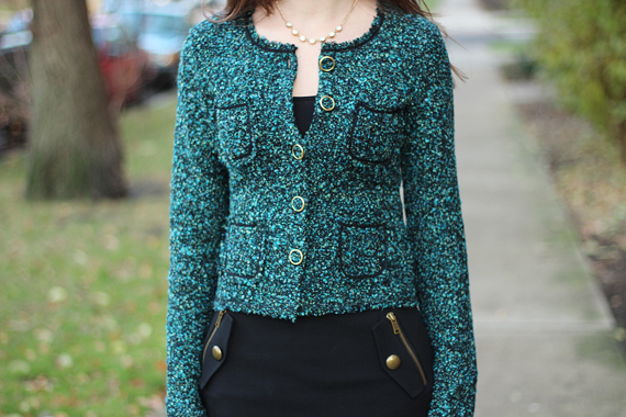 StyleSidebar - Channeling Chanel green tweed jacket