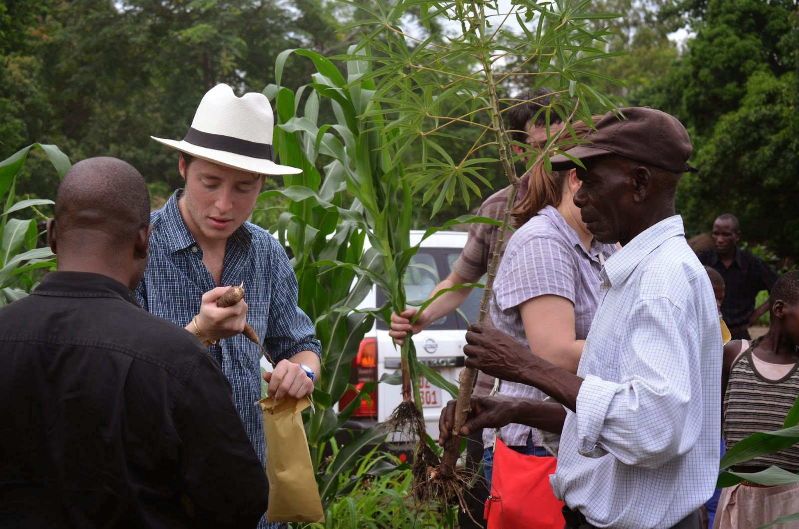 Edward in his panama hat out in Malawi