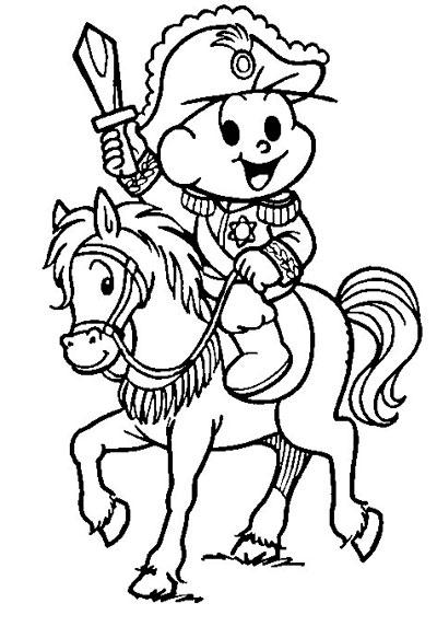 Desenho Dia da Pátria pra colorir Cebolinha Turma da Mônica