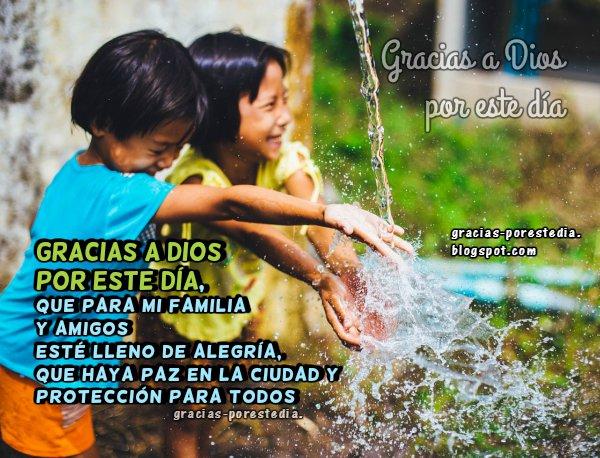 Mensaje de gracias a Dios, imagen cristiana con palabras de buenos días y gracias a Dios por Mery Bracho