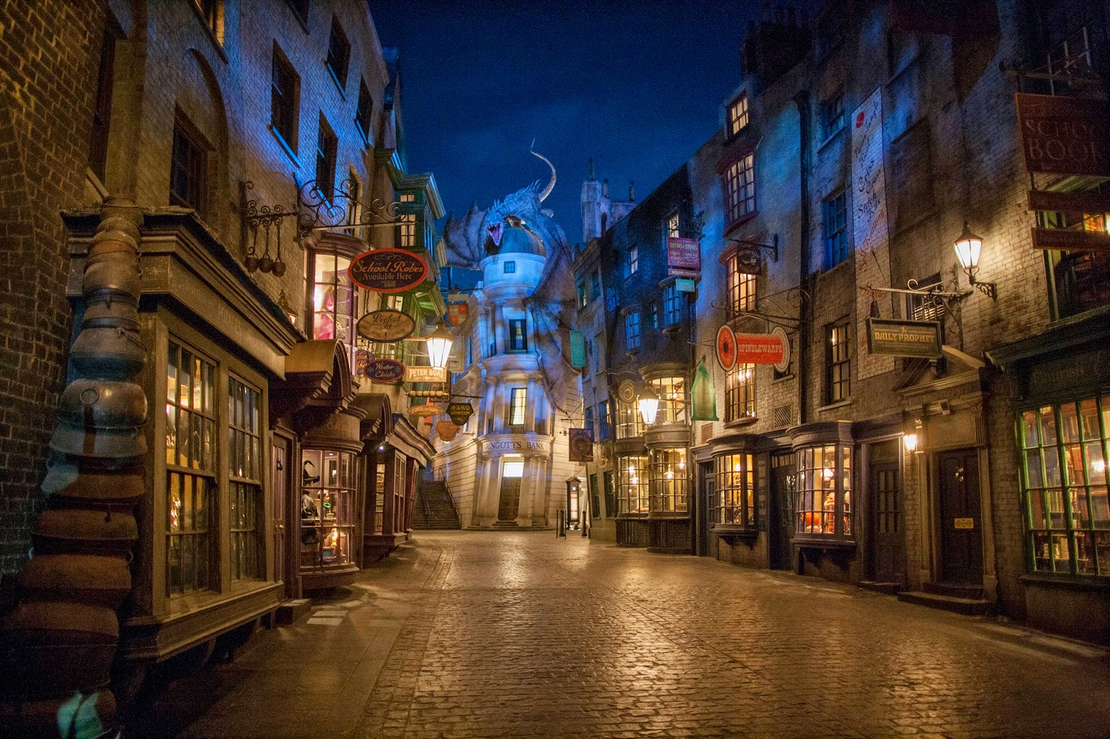 Diagon Alley at night with The Daily Prophet
