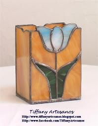Guarda lápices ámbar tulipán azul claro