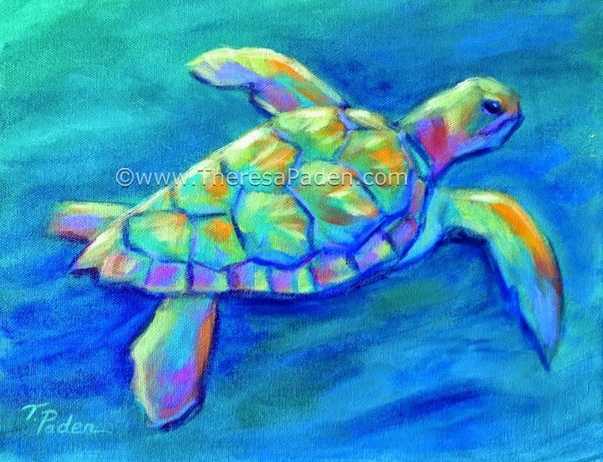 Colorful Acrylic Sea Turtle Paintings