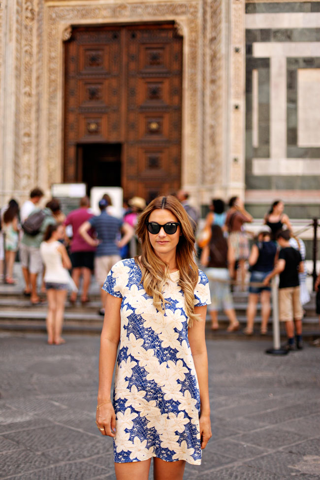 Zara Silk Dress, Floral Dress, Zara Silk Floral Dress, Zara Fall 2013 Collection, John Ruvin Sunglasses, Florence, What to wear in Florence, Ombre Hair, Fashion Blogger