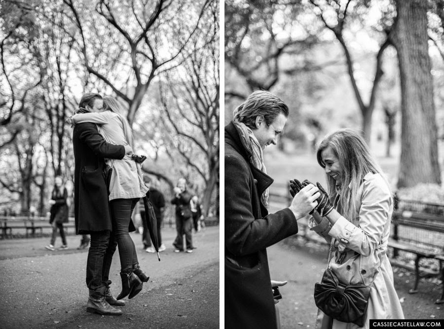 Candid, emotional engagement photos Literary Walk Central Park NYC - www.cassiecastellaw.com