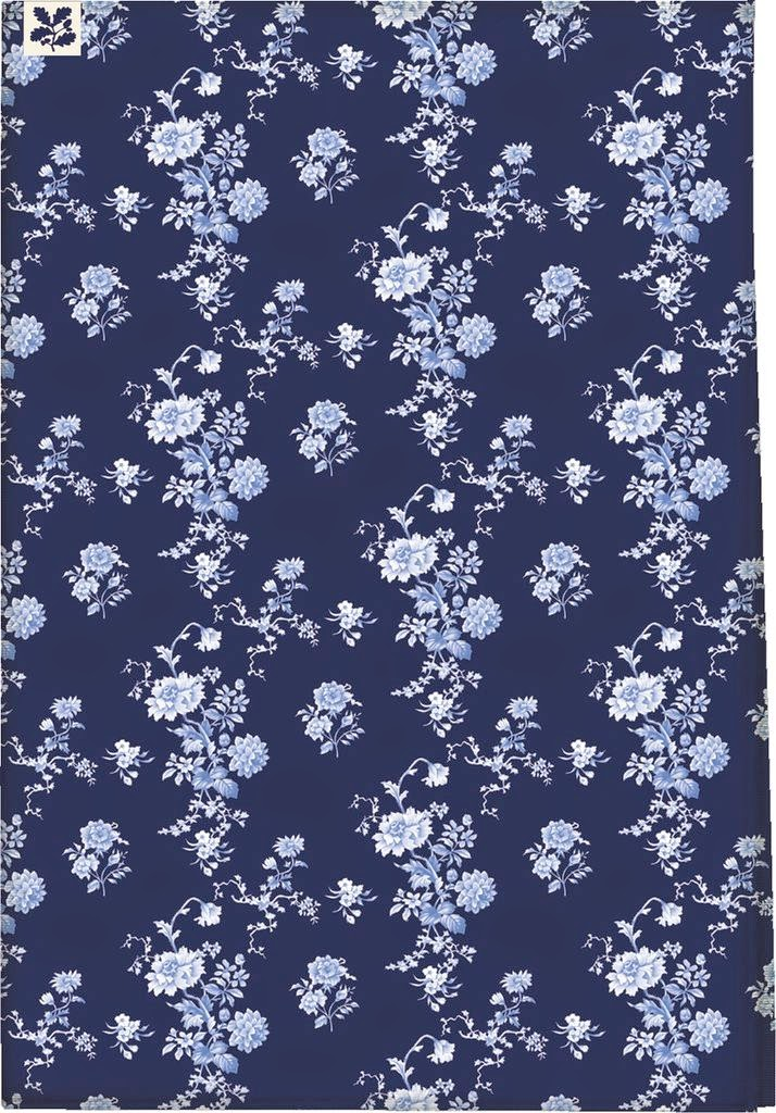 dark blue floral tea towel