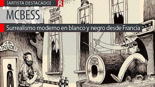 Surrealismo moderno en blanco y negro con MCBESS