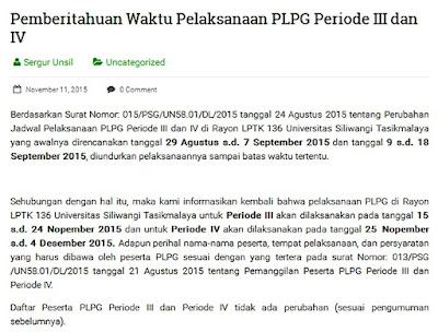 PLPG UNSIL 2015 Periode 3 dan 4