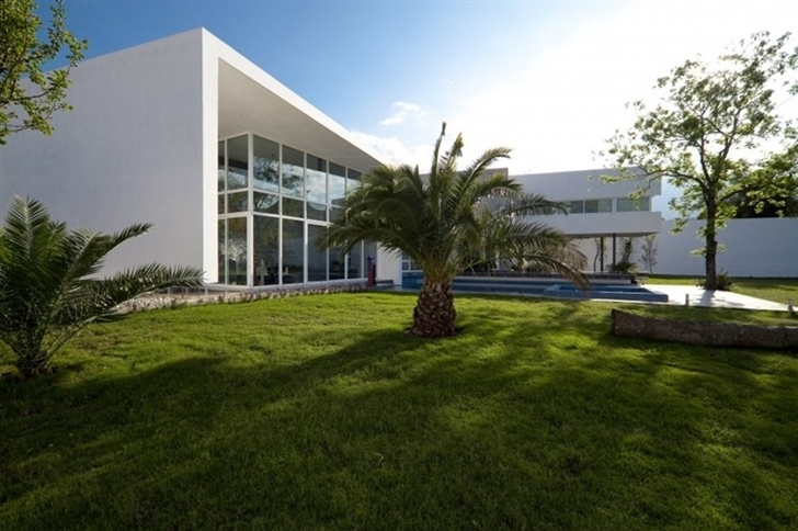 Palm tree in front of Beautiful white house by 7xa Taller de Arquitectura