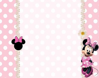 Imprimibles gratis de Minnie Mouse en rosa con lunares y flores