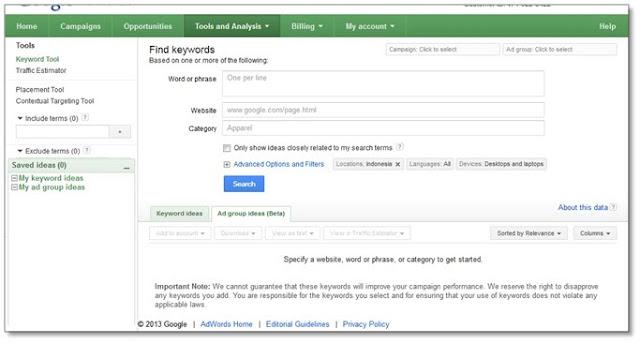 cara riset keyword - Tampilan google keyword tool dengan login di google adword